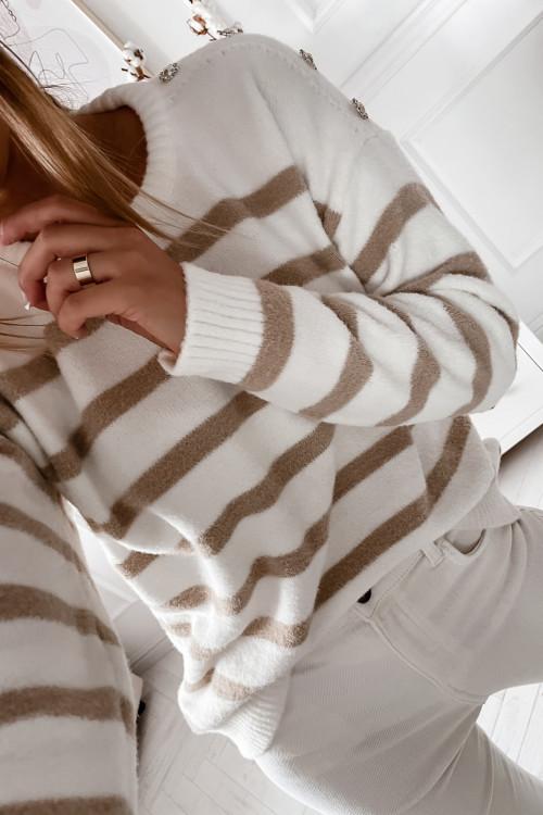 Sweter ANTOLLO MARINE nude beige FLUFFY
