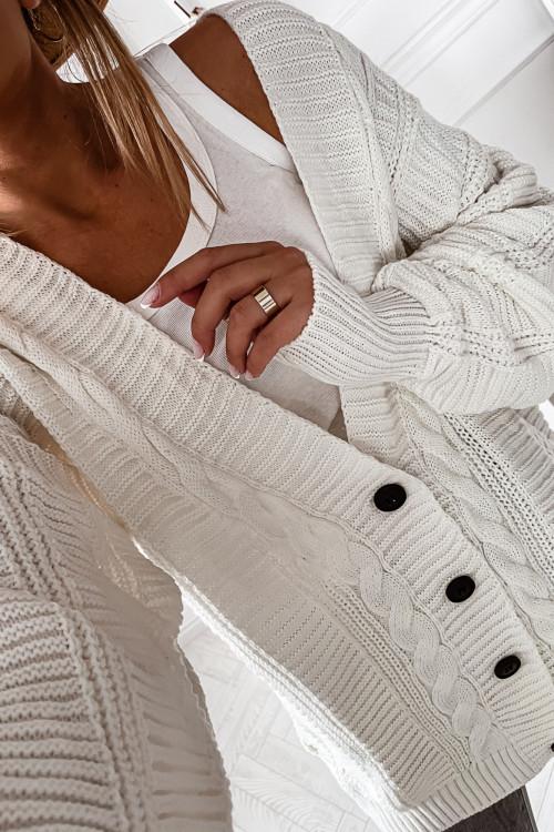 Sweter KARDIGAN oversizowy z warkoczem STREET WEAR